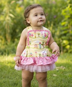 This Sam and Sydney Yellow & Pink Fairy Tale Skirted Apron Bodysuit - Infant by Sam and Sydney is perfect! #zulilyfinds