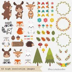 Woodland Animal Nursery, Woodland Theme, Woodland Party, Woodland Animals, Doodles Bonitos, Friends Clipart, Teachers Day Card, Cute Clipart, Vector Clipart