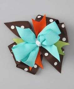 Take a look at this Blue & Brown Owl Bow Clip by Waistin' Away on #zulily today!