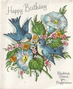 love the vintage bluebirdies and morning glories