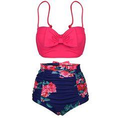 Women Push Up Bikini Cute Bowknot Bikinis Set High Waist Swimsuit Retro Flower Printing Bottom Two Pieces Swimwear Bathing Suits - serenityboutique Two Piece Swimwear, Two Piece Bikini, Push Up Bikini, Red Bikini, Bikini Top, Boho Swim Suits, Cute Bathing Suits, Plus Size Swimsuits, Retro Swimsuits