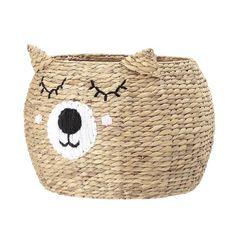 Bloomingville Mini Bear Storage Basket - Beaumonde Sleepy Bear, Scandinavian Kids Rooms, Bear Face, Water Hyacinth, Bear Print, Kartell, Rustic Nursery, Fairy Dolls, Storage Baskets