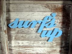 Surf's Up surfer jargon wood sign beach decor cottage coastal distressed shabby chic. $51.00, via Etsy.