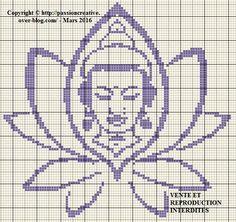 Grille gratuite point de croix : Bouddha et fleur de lotus monochrome violet - Le blog de Isabelle