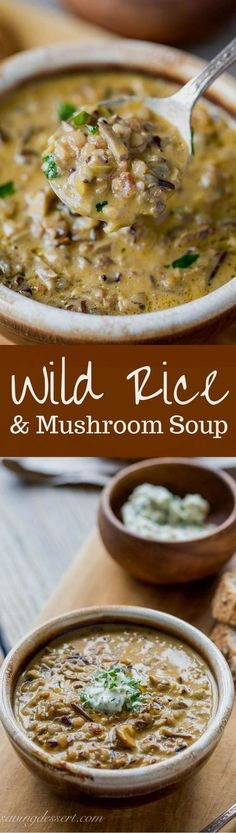 Wild Rice Mushroom Soup with Parsley Butter -Rich, hearty, earthy and comforting - this soup is unique and perfect for the mushroom lover in your house. Cant wait to try this! stuffed_mushrooms_with_cream_cheese, bread crumbs Vegetarian Recipes, Cooking Recipes, Healthy Recipes, Wild Rice Recipes, Kitchen Recipes, Vegitarian Soup Recipes, Hearty Vegetarian Soup, Yummy Recipes, Cooking Tips