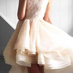 Modern champagne prom dress - a-line bateau sleeveless lace tiered high low