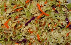 This is delish, but I cut out the sugr, add 1pkt of Splenda and only 1 pkg of Ramen (less carbs) . sometimes with the Oriental flavor I'll add soy sauce ,ginger and Water Chestnuts for crunch. Broccoli Slaw Ramen Noodle Salad | Something to be Savored