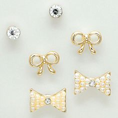 Bow Earring Set in Gold