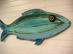 wood fish art | Fish Sign Beach House Weathered Wood Wall Art in Sea Glass Colours