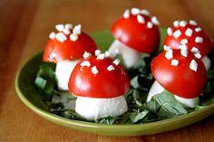 "Disney Family Movie Night- ""Alice in Wonderland"" Toadstools:  Caprese Salad Mushrooms"
