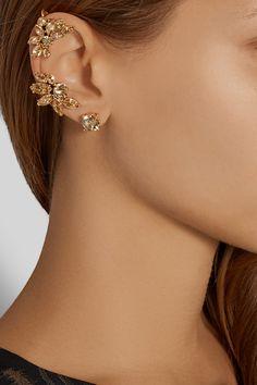 Oscar de la Renta|Gold-plated crystal earring and cuff set|NET-A-PORTER.COM