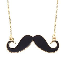 Enamel Moustache Necklace (€14) found on Polyvore featuring jewelry, necklaces, accessories, collares, colares, black, black jewelry, mustache pendant, enamel necklace and enamel jewelry