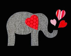 Valentine elephant applique pattern PDF template to make your own Valentine's Day elephant appliques The template is an outline drawing of the applique shapes that can be printed on A Applique Templates, Applique Patterns, Applique Designs, Quilt Patterns, Elephant Quilt, Elephant Applique, Elephant Template, Applique Onesie, Elephant Pattern
