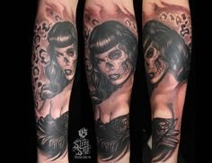 Day of the Dead Bettie Page Pin Up Tattoo - Steve Soto - http://inkchill.com/day-of-the-dead-bettie-pin-up-tattoo/ #pinup