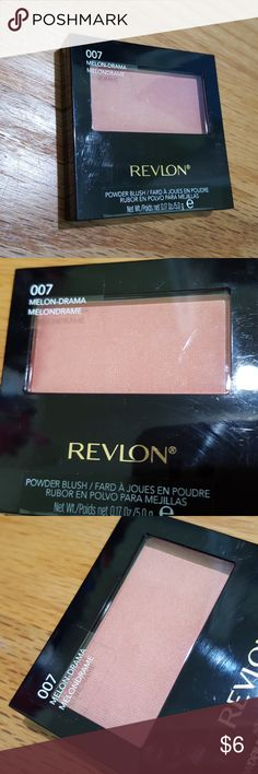 Revlon Powder Blush in 007 Melon-drama New Revlon Cosmetics.  Powder blush.  Full size, new and unopened!  Gorgeous pinky coral color called Melon-drama 007. Looks great on fair to light skin tones! Comes with small brush. Revlon Makeup Blush