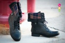 Bumper Freda-03X Plaid Cuff Lace Up Boot (Black)