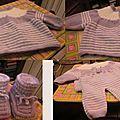 Deux adorables ensembles. Le pantalon taille naissance est une trouvaille de Mado. Si vous souhaitez le tricoter vous en trouverez les...