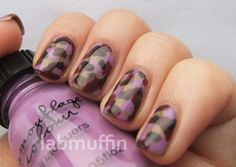 Pinned by www.SimpleNailArtTips.com TUTORIALS: NAIL ART DESIGN IDEAS -Nail art tutorial: Camouflage nails (and giveaway!) ~ Lab Muffin