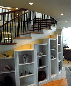 curved staircase shelving