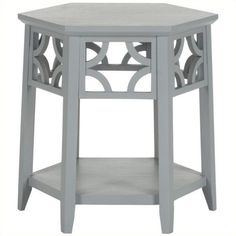 Safavieh Connor Bayur Wood Hexagon End Table ($172) ❤ liked on Polyvore featuring home, furniture, tables, accent tables, blue, wood end tables, blue accent table, painted tables, wood table and blue table