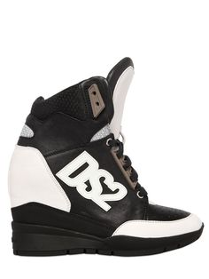 DSQUARED2 WOMEN'S 90MM DS2 LEATHER HIGH TOP SNEAKERS