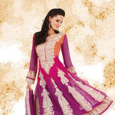 Shaded Orange and Pink Faux Georgette Anarkali Churidar Kameez