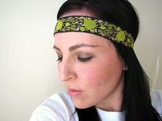 Bohemian Floral headband yellow lime green and by FeathersandFancy, $12.95