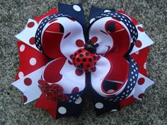 Items similar to Lady Bug Hair Bow Boutique Stacked Hair Bow Hair Clip red white and navy hair bow on Etsy Making Hair Bows, Diy Hair Bows, Diy Bow, Bow Hair Clips, Bow Making, Black Hair Bows, Navy Hair, Large Hair Bows, Lady Bug