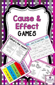Speech Time Fun: Cause & Effect Games! 3 games in one! visual aids and review worksheets included!