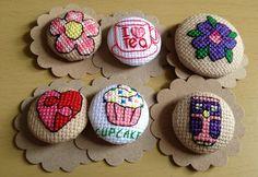 Cross stitch button by Angelas crafts Tiny Cross Stitch, Cross Stitch Boards, Cross Stitch Heart, Cross Stitch Designs, Cross Stitch Patterns, Cross Stitching, Cross Stitch Embroidery, Embroidery Patterns, Stitch Book