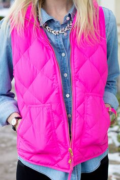 J.Crew Pink Excursion Vest and Chambray Shirt