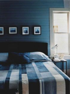 blue jean quilts in bedrooms | Shades of Blue via The Style Files | Final Decorating Surge!