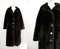 Vintage 1950s 60s Full Length Faux Fur Coat  by CutandChicVintage, $35.00