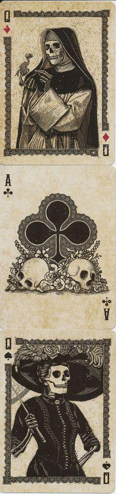 Q♦ A♣ Q♠ Calaveras Playing Cards. Designed by Chris Ovdiyenko. Really like the use of full figured court cards - great artwork. Memento Mori, Art Graphique, Vanitas, Skull And Bones, Skull Art, Cool Art, Illustration Art, Girl Illustrations, Horror