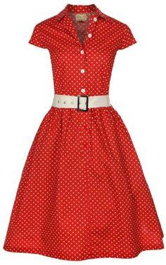 Amazon.com: Lindy Bop 'Kathline' Classic Red Polka Dot Vintage Ww2 1940'S 1950'S Belted Shirt / Tea Dress: Clothing