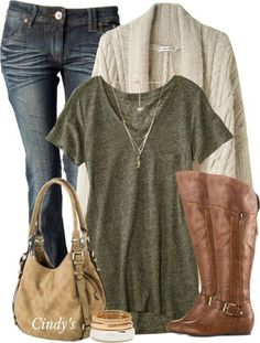 Simple Casual Fall Outfit With Cgable Oversize Cardigan