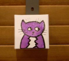 Colorful Cat Magnet #6 Original Illustration by CottonwoodCove on Etsy