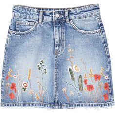 Embroidered Denim Skirt (170 BRL) ❤ liked on Polyvore featuring skirts, bottoms, floral print skirt, mango skirts, zip skirt, floral skirts and denim skirt