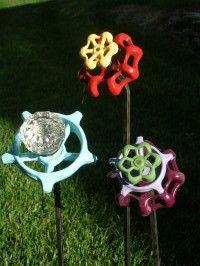 Junktion Alley - garden art/junk using fan blades, faucet handles ...