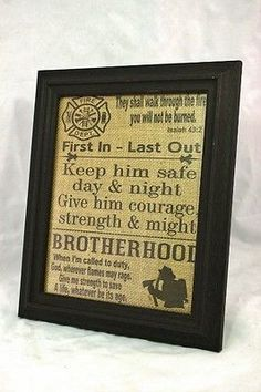 """Firefighter Brotherhood"" 8""x10"" Burlap Sign"
