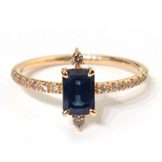 Gold Jewelry Rose Gold and Sapphire Ring - 14 karat rose gold baguette cut dark blue sapphire diamond pave band half way around handmade All ring sizes are made to order and have a week lead time unless noted in stock Gold Jewelry, Jewelry Rings, Jewelry Box, Jewelry Accessories, Fine Jewelry, Jewelry Design, Jewlery, Aquamarine Jewelry, Luxury Jewelry