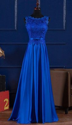 Scoop Neck Lace Satin Evening Dress, Blue