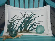 Outdoor pillow glass float pillow painted 14x20 by crabbychris, $38.00