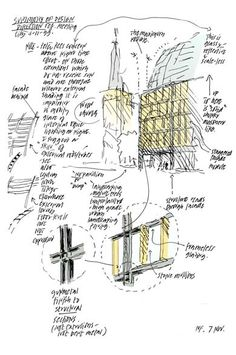 Concept sketches by Sir Norman Foster Norman Foster, Architect Sketchbook, Architect Drawing, Architecture Drawings, Concept Architecture, Classical Architecture, House Architecture, Art Drawings Sketches, Cool Drawings