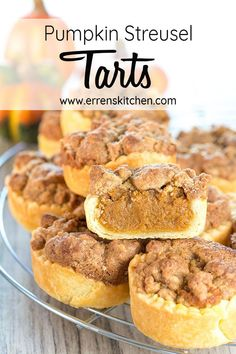 *COPIED This recipe for Pumpkin Streusel Tarts creates not only the perfect Autumn Dessert but it is also a decadent treat for many occasions like Hallowwen or Thanksgiving, you will have friends and family asking about these! Pumpkin Recipes, Fall Recipes, Holiday Recipes, Fall Dessert Recipes, Christmas Recipes, Dinner Recipes, Pumpkin Tarts, Pumpkin Spice, Pumpkin Pumpkin
