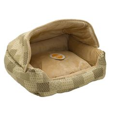 Pet Bed Lounger Sleeper Zippered Removeable Hood Privacy Easy Care Tan Pattern #KH#HoodedPetBed