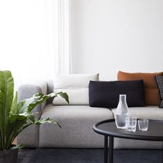 The Mags Sofa and Wrong for Hay Serve Table with Tela Glassware #HAYDesign #HAY #WrongforHay