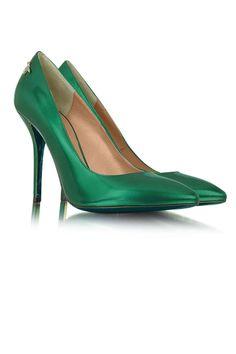 Patrizia Pepe Metallic Stiletto Pumps $383 Green Fashion Pantone 2013 Emerald Shoes Accessories