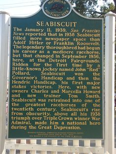 Seabiscuit Historical Marker at the Michigan State Fairgrounds in Detroit, MI - Freebird - Urlaubsorte Michigan Travel, State Of Michigan, Detroit Michigan, City Of Columbia, Detroit Rock City, Detroit History, Mackinac Island, Great Lakes, Historical Sites