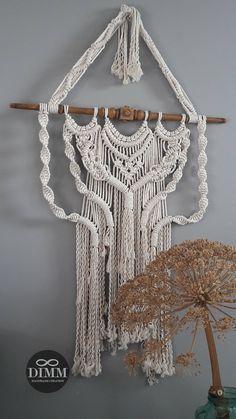 "Macramé wandkleed ""ecru boho"", macrame wall hanging, macrame wall decor, oude trapspijl, 5 mm 100 % katoen touw,"